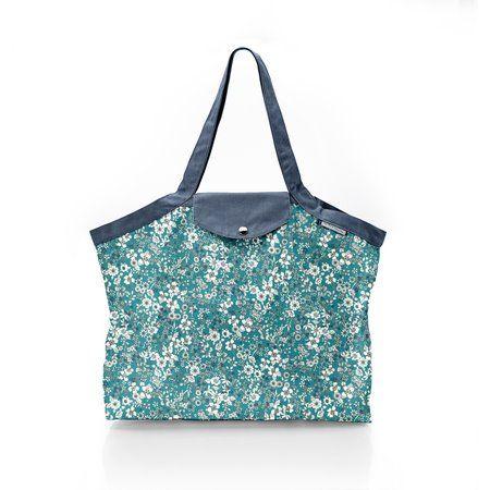 Pleated tote bag - Medium size celadon violette