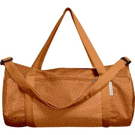 Duffle bag caramel golden straw