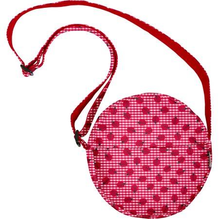 bolsa redonda cuadros vichy rojo y mariquitas