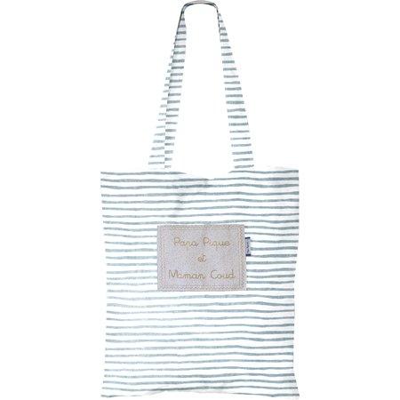 Tote bag striped blue gray glitter