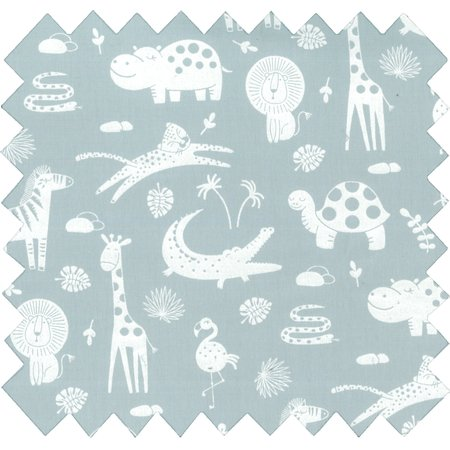 Tissu coton animaux gris