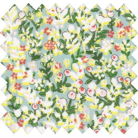 Tissu coton baie mentholée