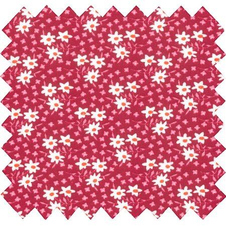 Tissu coton cosmo rouge ex1009