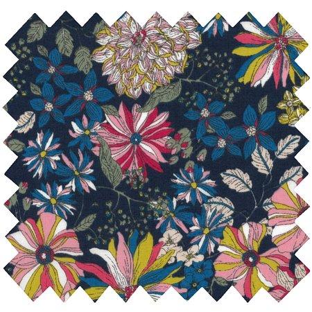 Tissu coton dahlia rose marine