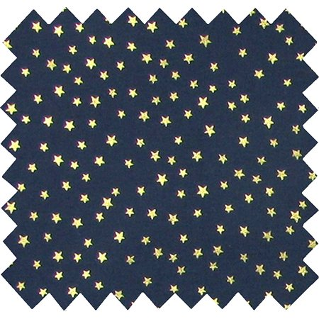 Cotton fabric navy gold star