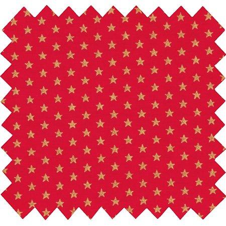 Tissu coton etoile or rouge