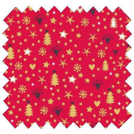 Tissu coton etoile sapin rouge