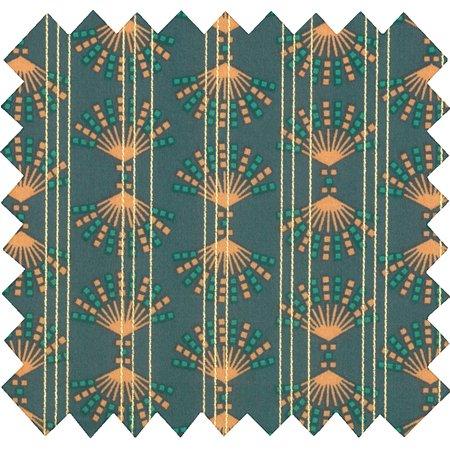 Tissu coton eventail or vert