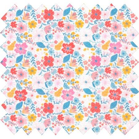 Tissu coton au mètre fleurs pastel ex1048