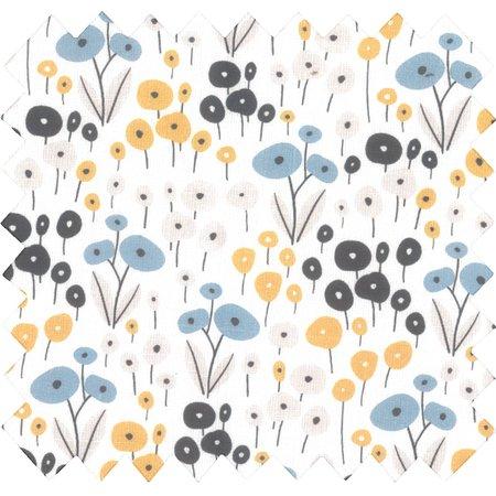Tissu coton au mètre fleurs graphique ex1051