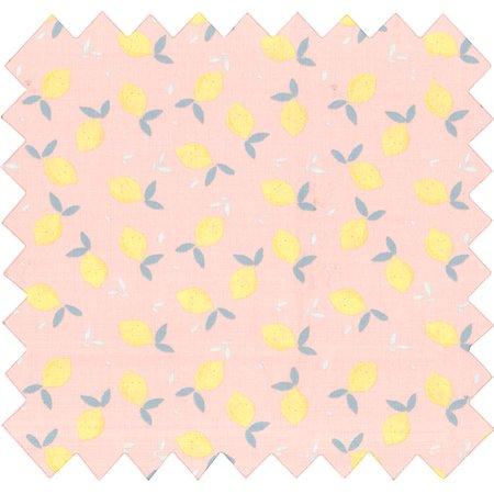Tissu coton citron jaune rose