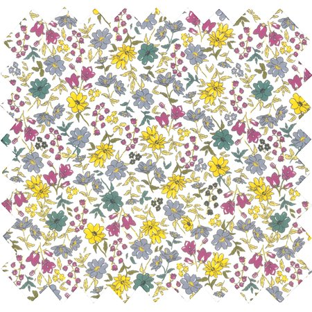 Cotton fabric yellow grey flowers