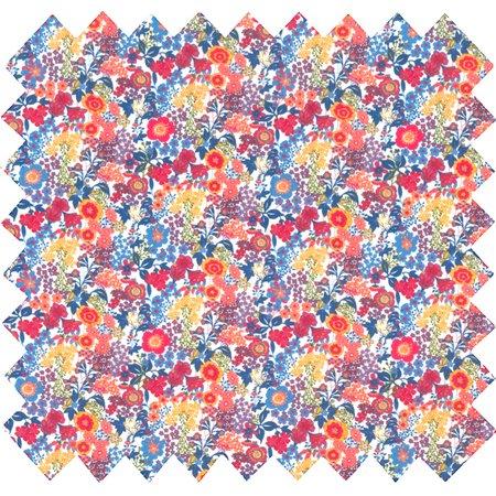 Tissu coton fleuri orange bleu blanc