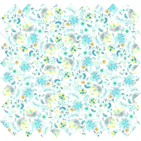 Tissu coton fleuri vert blanc