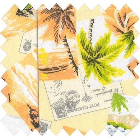 Cotton fabric exd tropiques jaune