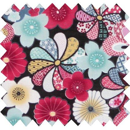 Tissu coton fleurs du mékong