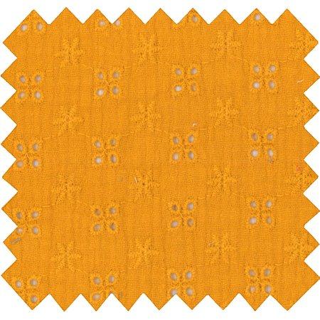 Tissu coton au mètre gaze dentelle ocre