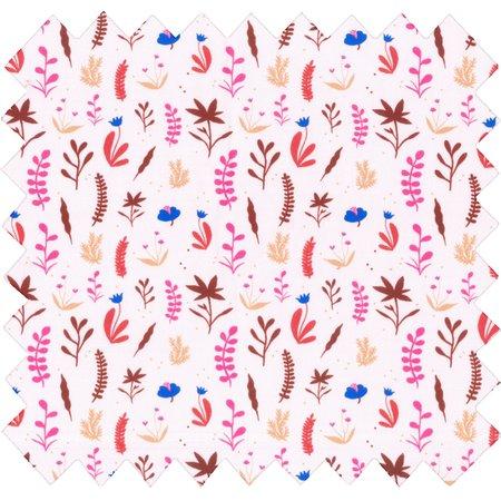 Tissu coton au mètre herbier rose