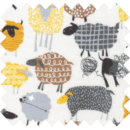 Tela  algodón oveja amarillo
