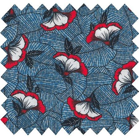 Tissu coton  nuit fleurie