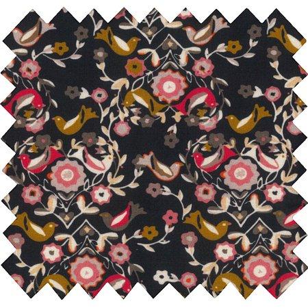 Tissu coton  oiseau ocre