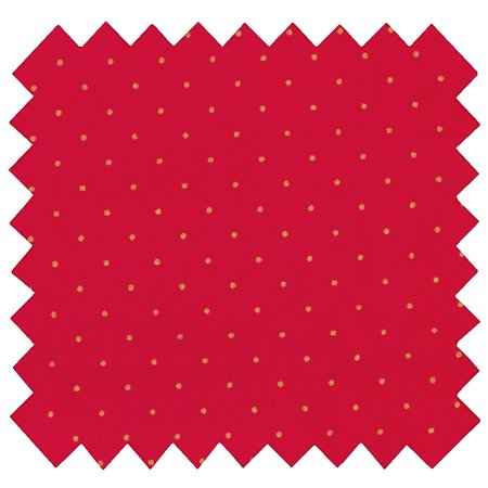 Tissu coton pois or rouge