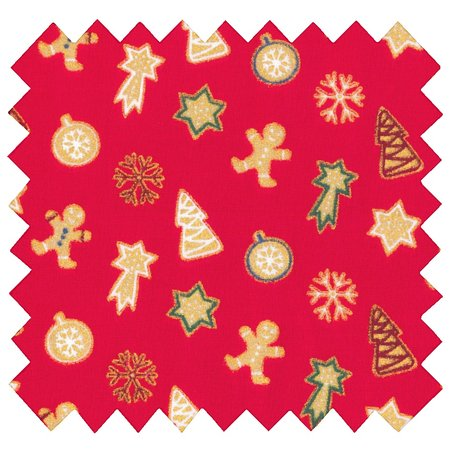 Cotton fabric sapin bonhomme rouge