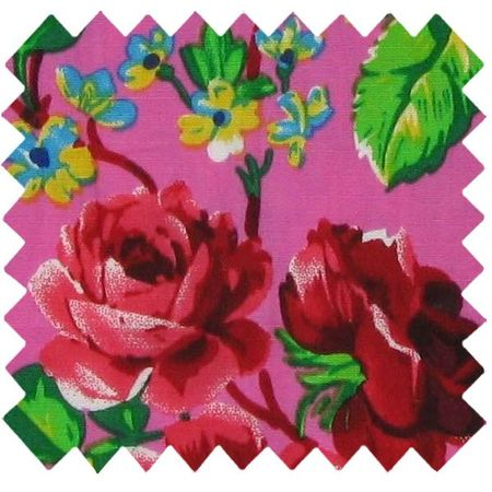 Coated fabric fuschia rosebush