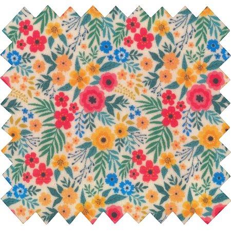 Tissu enduit  au mètre fleuri coloré ex1049