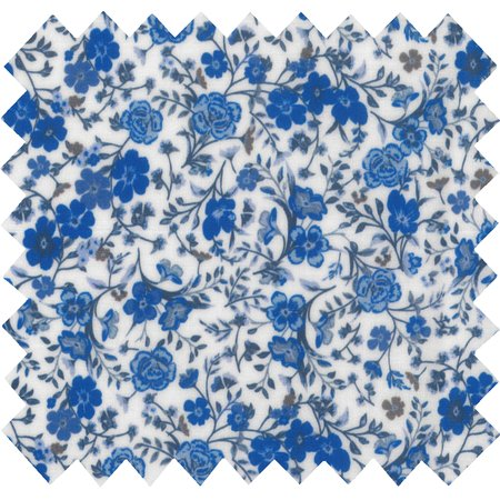 Coated fabric blue and cream flowers