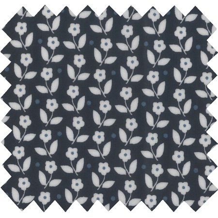 Coated fabric white and blue flowers ex1097