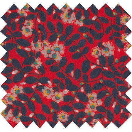 Coated fabric vermilion foliage