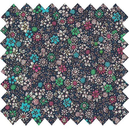 Tissu enduit milli fleurs vert azur