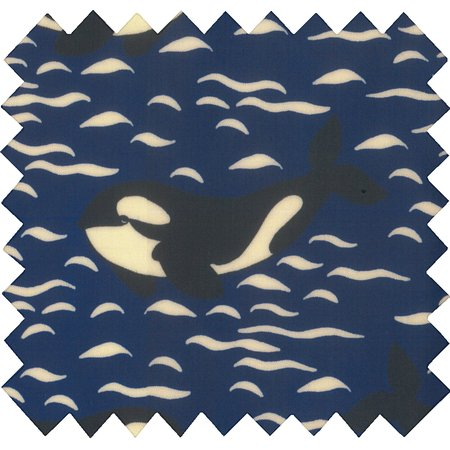 Tissu enduit  au mètre orque bleue
