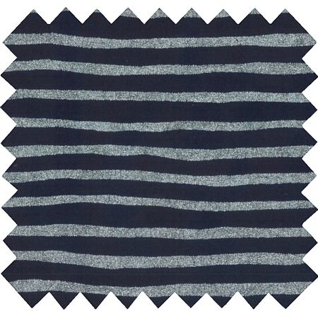 Coated fabric striped silver dark blue
