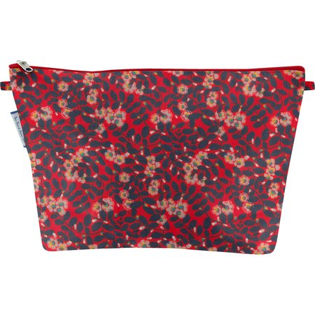 Cosmetic bag with flap vermilion foliage