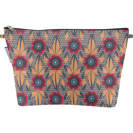 Cosmetic bag with flap fleurs de savane