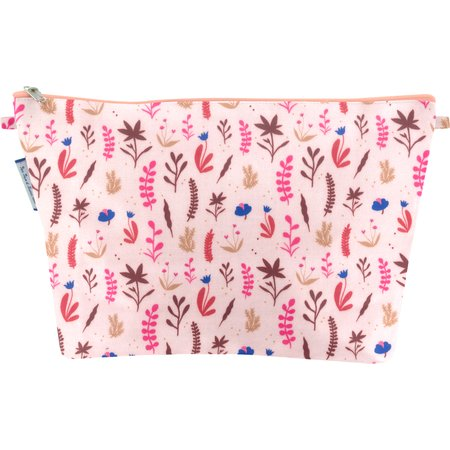 Cosmetic bag with flap herbier rose