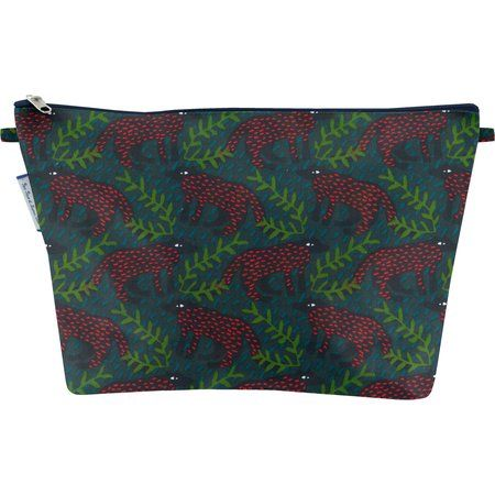 Cosmetic bag with flap wolf of the woods