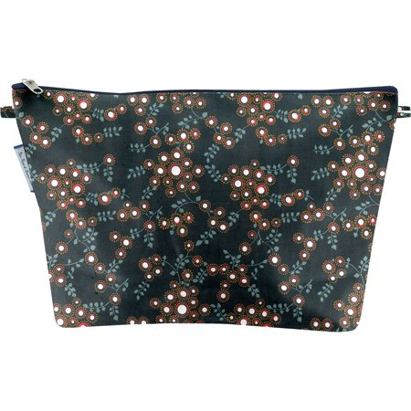 Cosmetic bag with flap fireflies