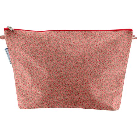 Cosmetic bag with flap mini pink flower