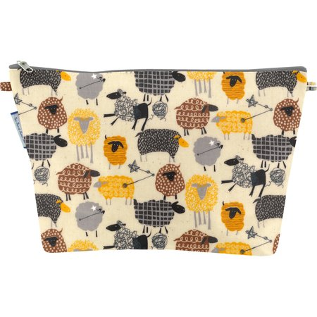 Cosmetic bag with flap yellow sheep