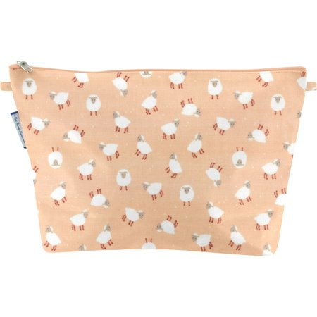 Cosmetic bag with flap pink sheep