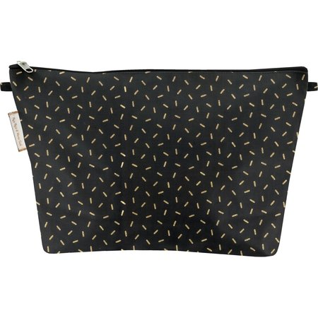 Cosmetic bag with flap golden straw