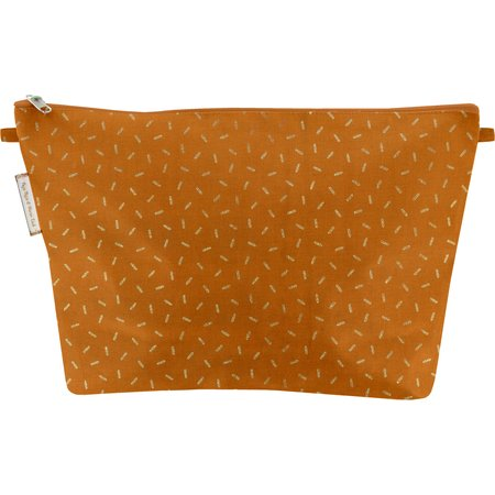 Cosmetic bag with flap caramel golden straw
