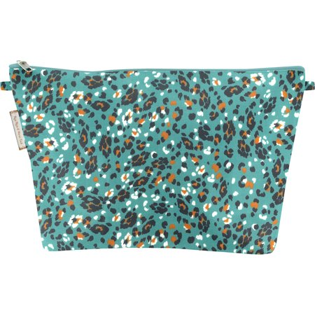 Cosmetic bag with flap jade panther