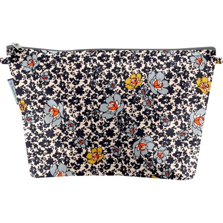 Cosmetic bag with flap ochre flower