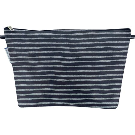 Cosmetic bag with flap striped silver dark blue
