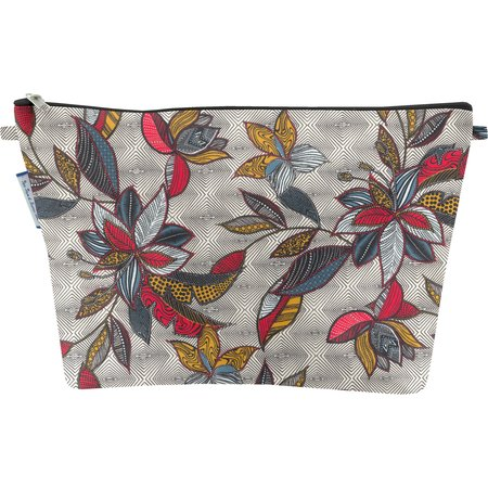 Cosmetic bag with flap wax fleuri