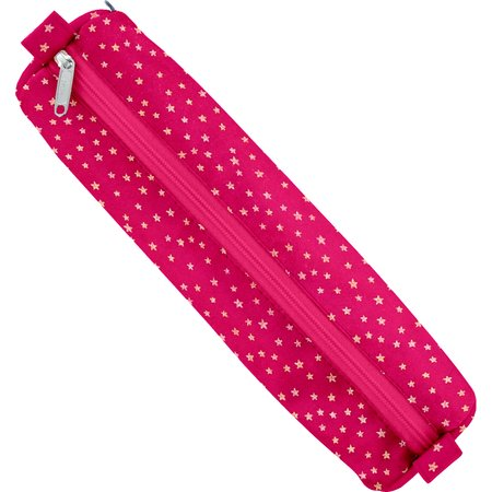Round pencil case etoile or fuchsia